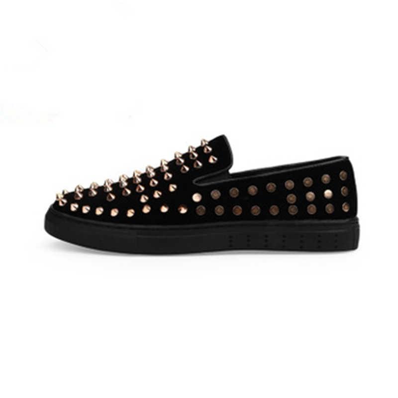 ชายรองเท้าผ้าใบใหม่ของแท้หนัง Rivets รองเท้าแฟชั่นรองเท้าสบายๆรองเท้ารองเท้าผ้าใบ Low - cut Loafers tenis masculino