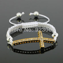 Sale 10pcs/lot Fashion Clear Crystal Gold Color Curved Sideways Cross Connector Bead Adjustable White Macrame Rope Bracelet