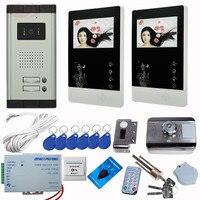 4.3 Calowy kolorowy TFT LCD Monitor Przewodowy Telefon Drzwi Wideo Odblokowania Zamka Elektronicznego Rfid Kamery Wideo Domofonu Wideo 2 przyciski