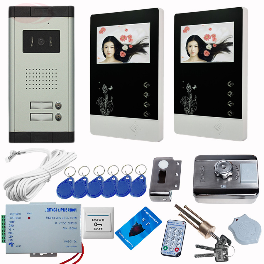 4.3Inch color TFT LCD Wired Monitor Video Door Telephone Rfid Unlock Electronic Lock Video Cameras For Video Doorphone 2 buttons