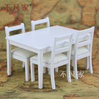 Dollhouses 1/12 scale miniature furniture White dining table And 4 pcs chairs