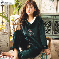 JRMISSLI Flannel Pajama Suit Sets Flamingo Animal Thick Warm Pijama Costume Nightgown Sleepsuit 2018 Winter new Women Pyjamas