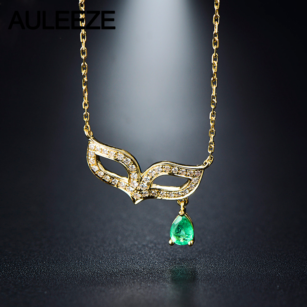with necklace pin gold ct natural tension in yellow setting pendant cut emerald