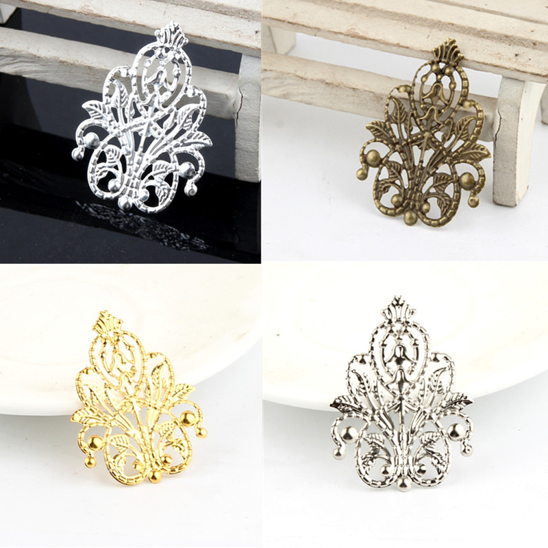 20Pcs Pick Colour Leaves Filigree Wraps Connectors Metal Crafts Connector For Jewelry Making DIY Accessories Charm Pendant