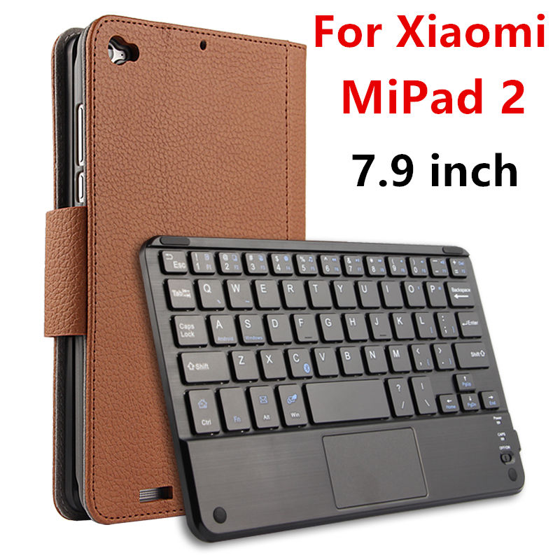 Case For Xiaomi MiPad 2 Protective Wireless Bluetooth keyboard Smart cover Leather Tablet PC mipad2 PU Protector Sleeve 7.9 universal 61 key bluetooth keyboard w pu leather case for 7 8 tablet pc black