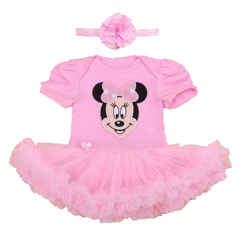 Cute Minnie Pink Jumpsuit Lace Ruffle Romper Party Dresses Baby Girl Summer Clothing Sets Infant Clothes 2PCS Newborn Tutu Sets 2016 bebe rompers ropa pink minnie hoodies newborn long romper baby girl clothing roupa infantil jumpsuit recem nascido