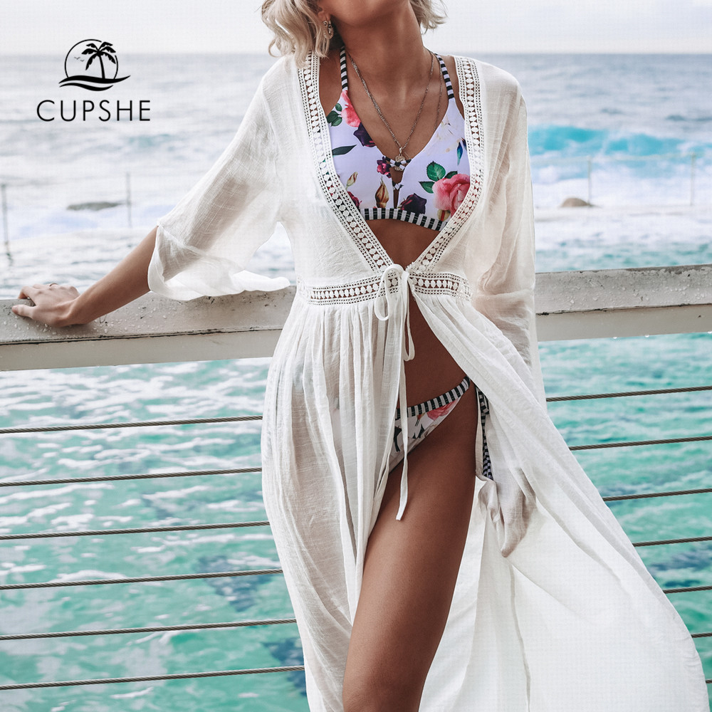 CUPSHE White Open Back Self-tie Bikini Cover Up Sexy Lace Up Long Dress Covers Women 2020 Summer Beach Bathing Suit Beachwear