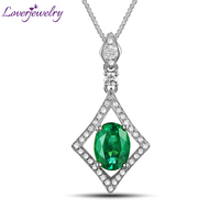2015 New Natural Diamond Pendant Emerald Engagement Pendant 14Kt Gold Oval 6x8mm WP40