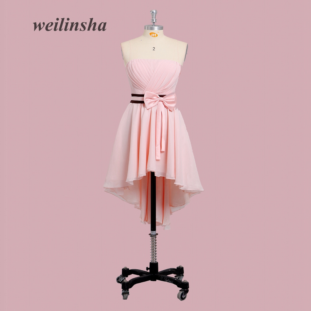 weilinsha New Pink Bridesmaid Dresses Strapless Wedding Party Dress Cheap Girl Birthday Prom Dress Knee-length Dress