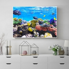 Laeacco Nordic Seascape Fish Animal Posters Prints Abstract Canvas Painting Wall Art Home Decoration Living Room Decor No Frame