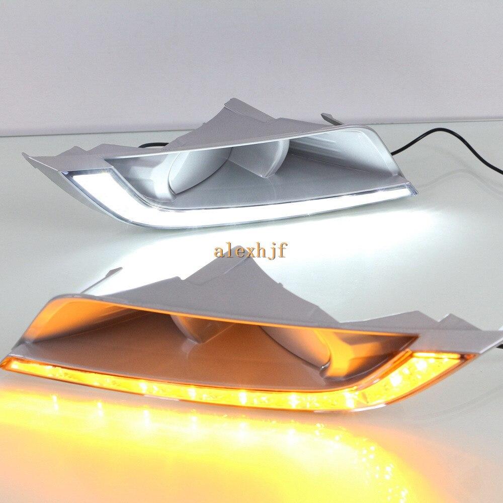 July King LED Daytime Running Lights Case for Ford Ranger 2015~2018 Round Fog Lamp, LED DRL With Yellow Turn Signals smrke drl for ford ranger wildtrak 2015 2017 car led daytime running lights