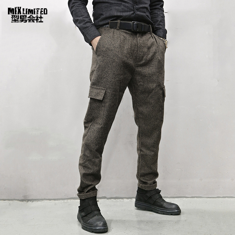 Men British Style Grey Casual Pockets Slim Fit Woolen Brand Suit Pants Metrosexual Men Zipper Top Quality Straight Trousers K928