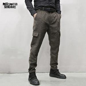 Image 1 - Men British Style Grey Casual Pockets Slim Fit Woolen Brand Suit Pants Metrosexual Men Zipper Top Quality Straight Trousers K928