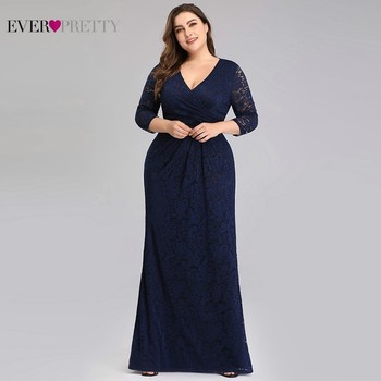 Plus Size Lace Mermaid Long Prom Dresses 2020 Ever Pretty EZ07682NB V-Neck 3/4 Sleeve Elegant Women Party Gowns Vestidos De Gala 2