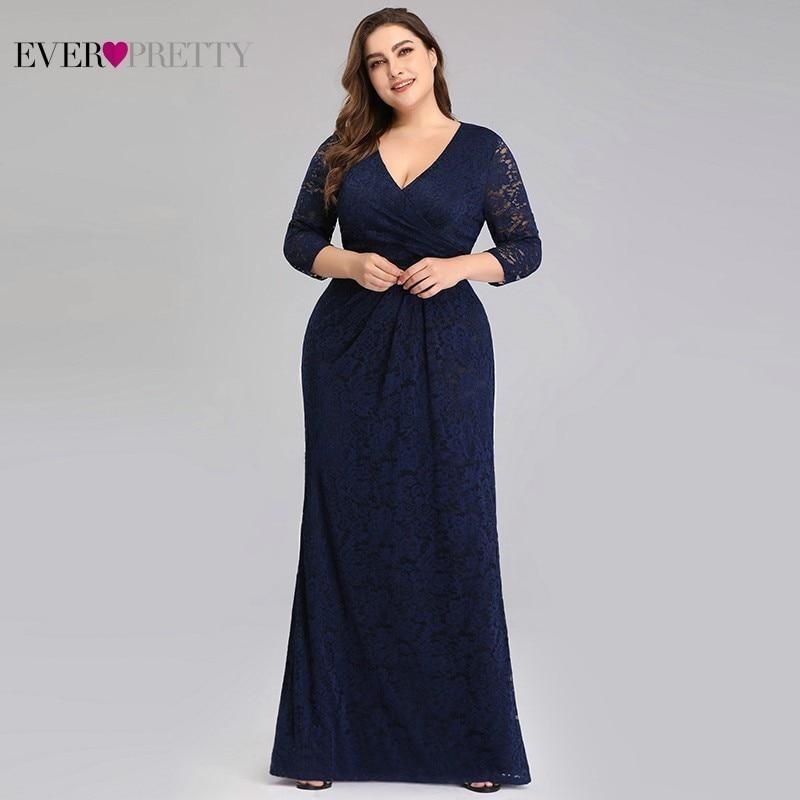 Plus Size Lace Mermaid Long Prom Dresses 2019 Ever Pretty EZ07682NB V-Neck 3/4 Sleeve Elegant Women Party Gowns Vestidos De Gala