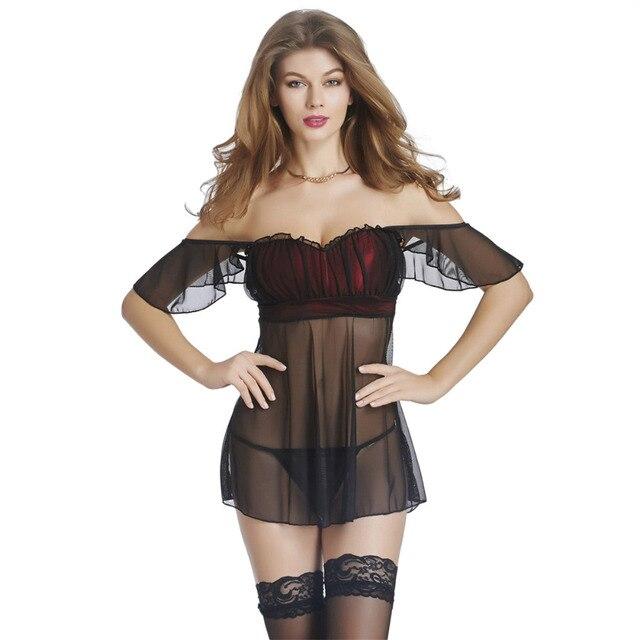 530faec1c4 Mujer lenceria sexy Bady muñeca transparente porno de dormir color negro  colmenas Ropa interior noche