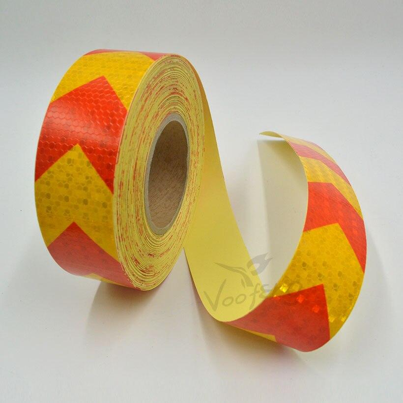 5cmx10m malá zářící čtvercová samolepicí reflexní výstražná páska se žlutou červenou barvou šipkou pro auto