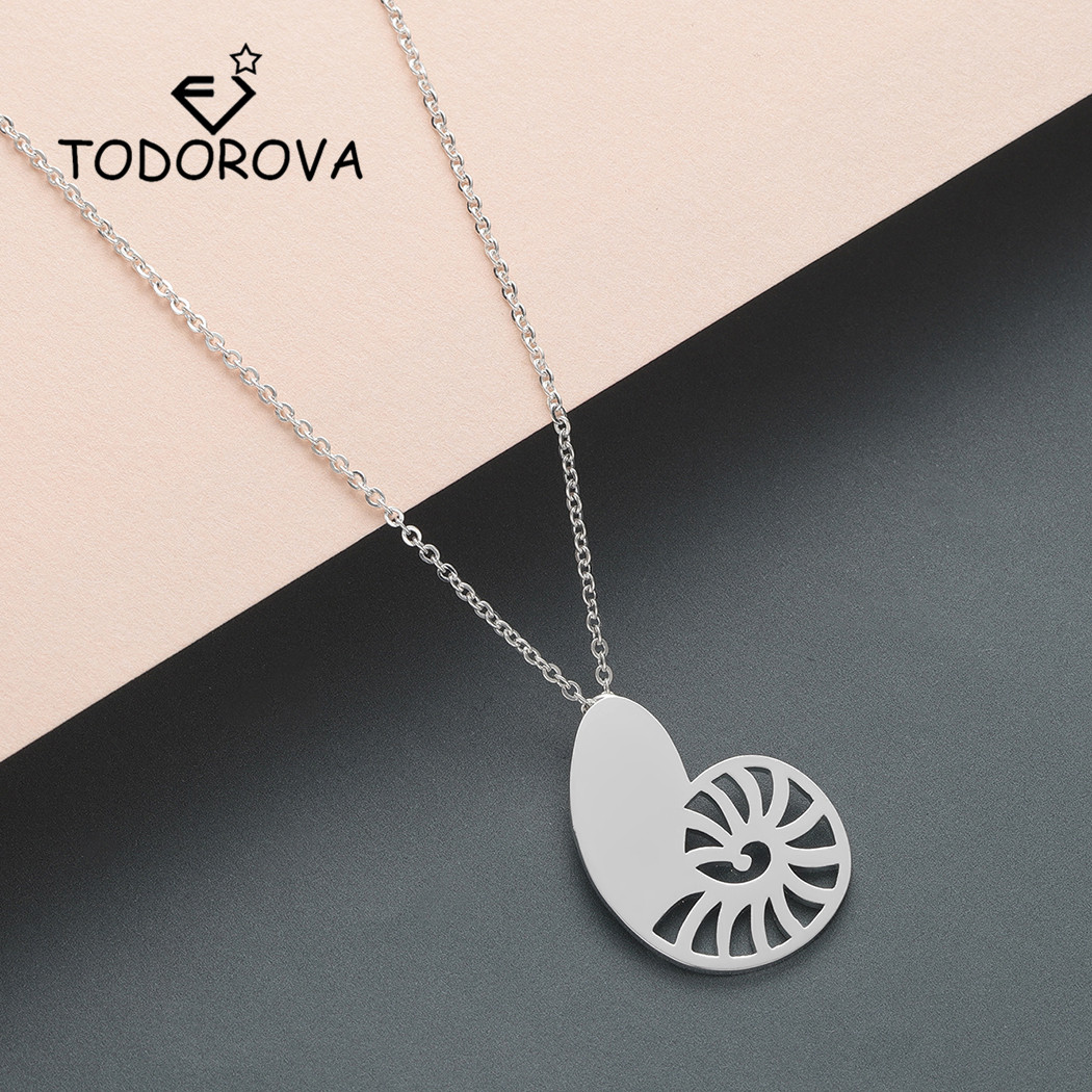 Todorova Turbo Charm Necklace Women Gold Ariel Voice Shell Men Necklace Spiral Swirl Snail Necklace Ocean Beach Conch Necklace