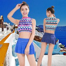 2017 new swimsuit female conservative skirt split flat pants sexy cute fresh student swimwear