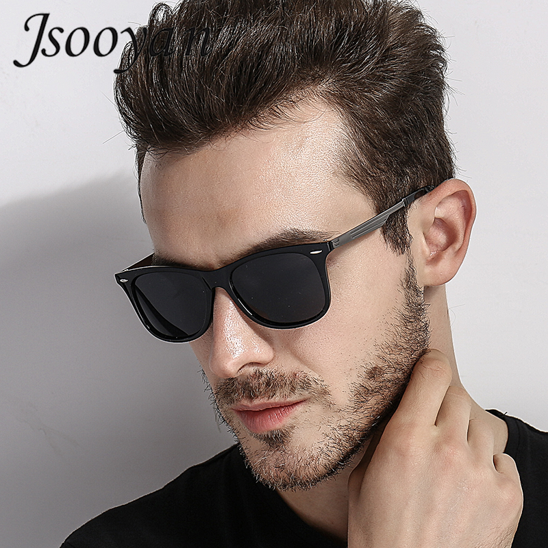 Jsooyan Sunglasses Men Goggle Mirror Driving Square Vintage Retro Polarized Brand Designer
