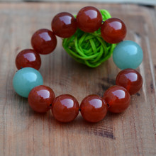 Free Shipping Natural Red Agate Beads+Green Dongling Jade Bracelet Round Beads Women Mens Gift Bracelets Jades Jewelry 2017 New