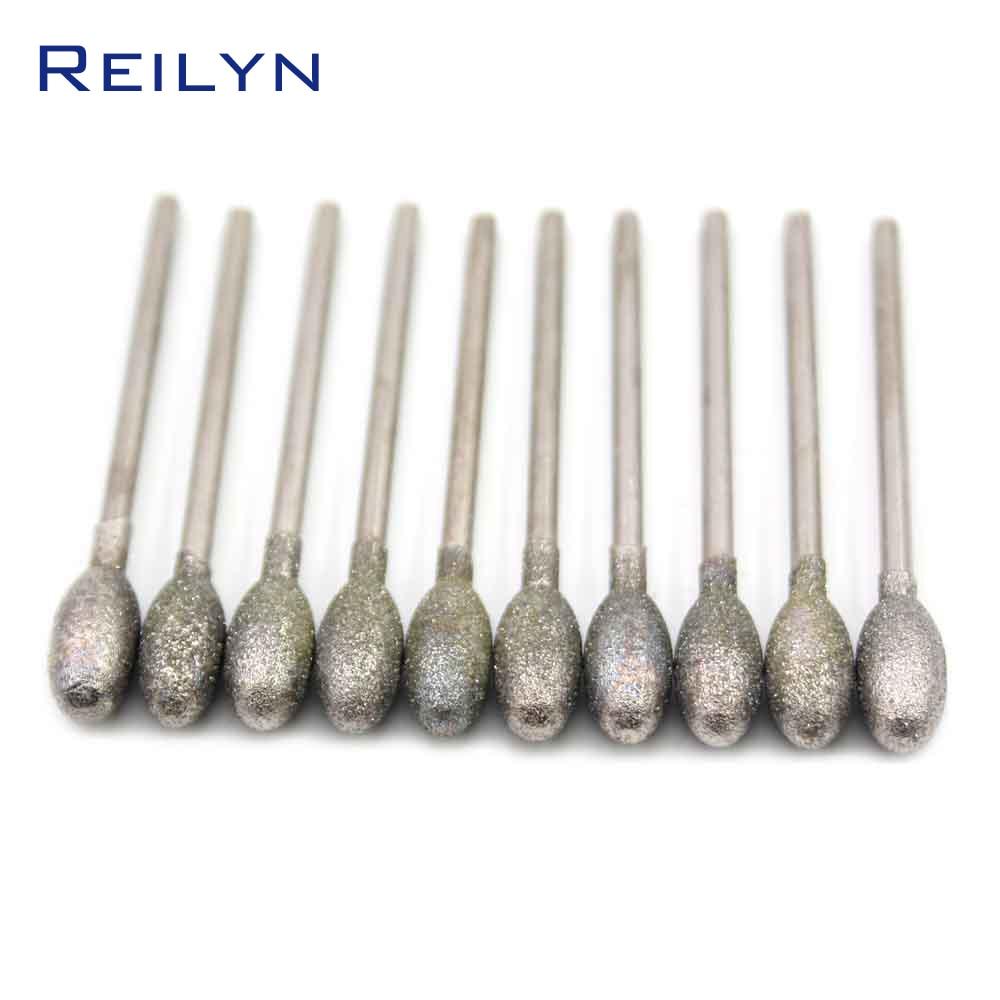 G-type Fine Grain Egg Bits Emergy Diamond Jade Abrasive Bits Teeth Grinding Bits Dental Abrasive Head For Dremel  Rotary Tools