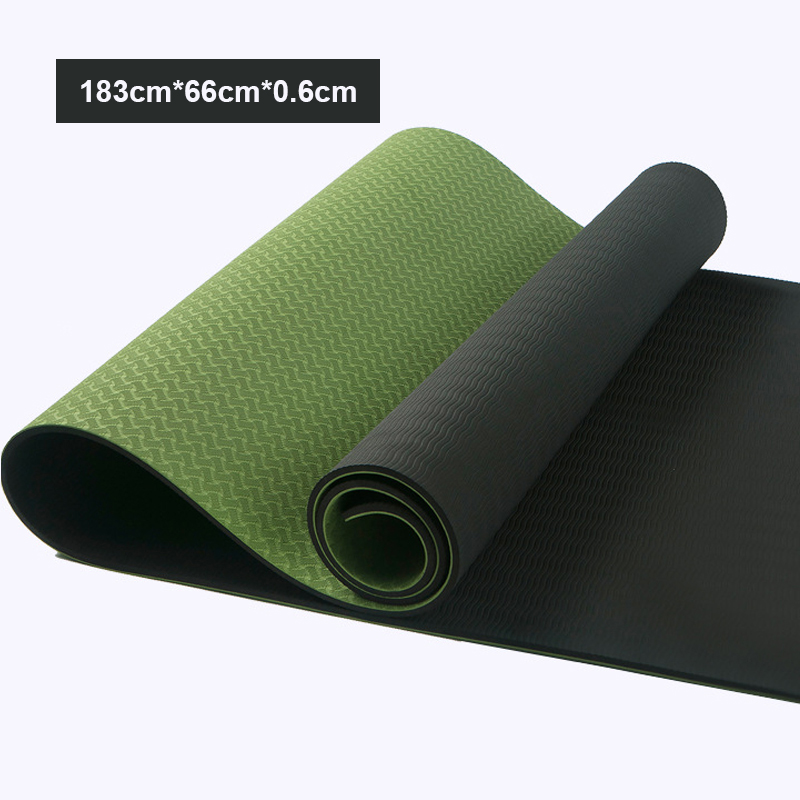 @1  TPE Двухцветный безвкусный коврик для йоги 6 мм Нескользящий пилатес Новичок расширился Фитнес-танце ★