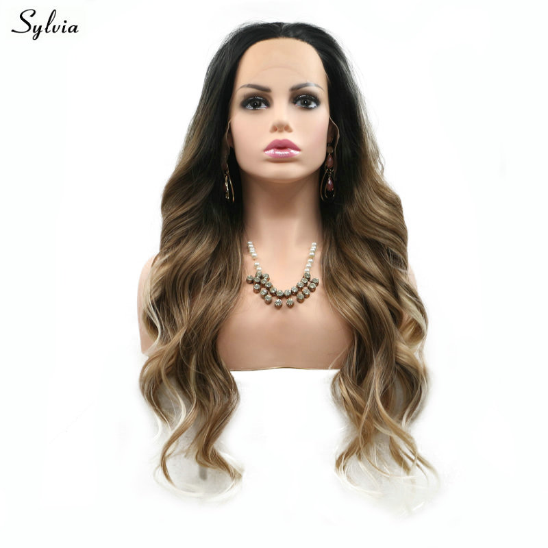 Sylvia Natural Black To Brown Ombre Natural Wavy Wigs Blonde Tips Synthetic Lace Front Wig Heat Resistant Fiber Hair For Women ...