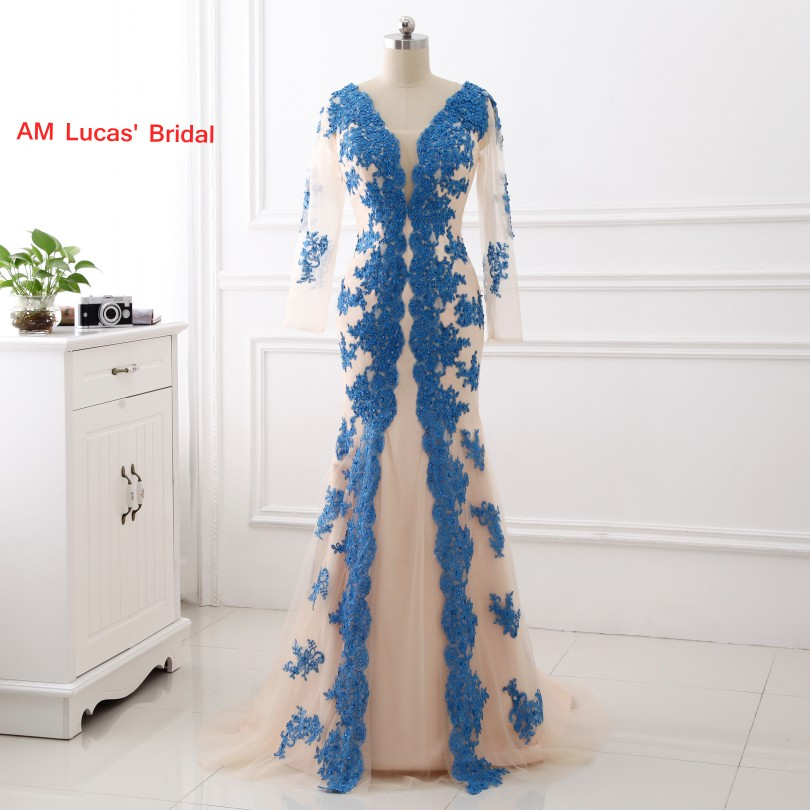 New Mermaid   Evening     Dress   With Long Sleeves Appliques Women Formal Gown For Prom Wedding Party   Dresses   Robe De Soiree