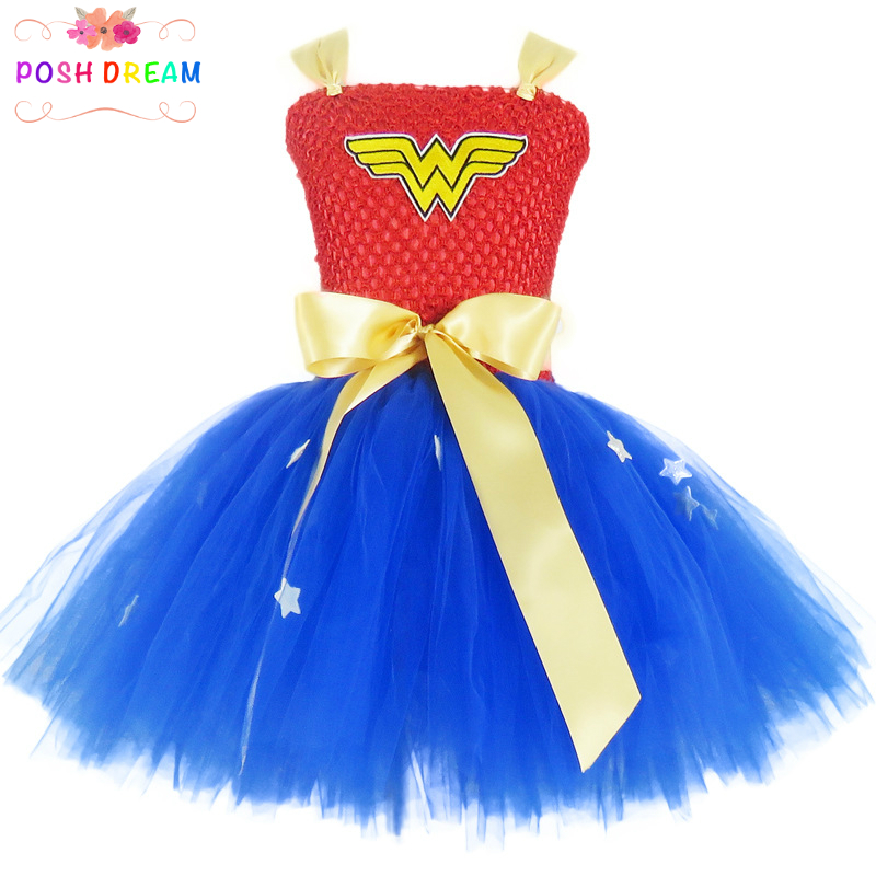 POSH DREAM Wonder Woman Cosplay Dress for Kids Girls Cartoon Superhero Wonderwoman Halloween Party Costume Cosplay Tutu Dresses цены онлайн