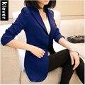 Frete grátis blazer feminino primavera outerwear 2015 primavera e no outono fino médio longo blazer além de roupas tamanho