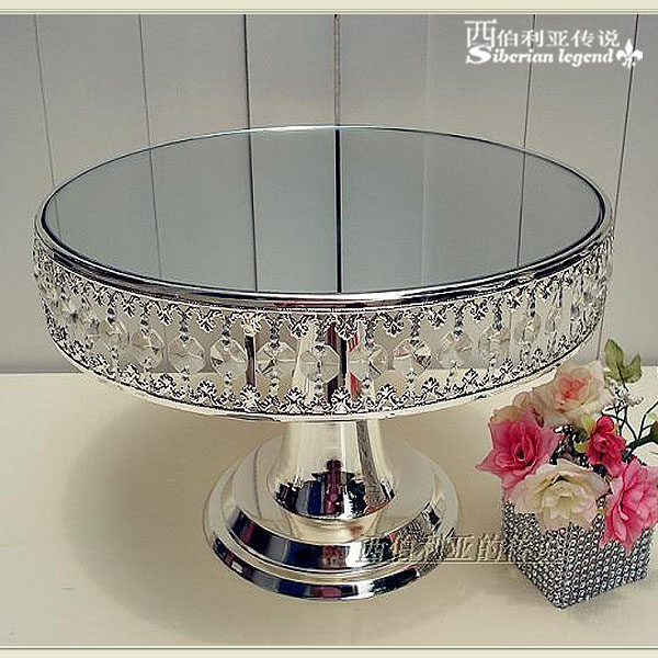 Crystal Pendant Silver Plated Cake Plate Fruit Plate