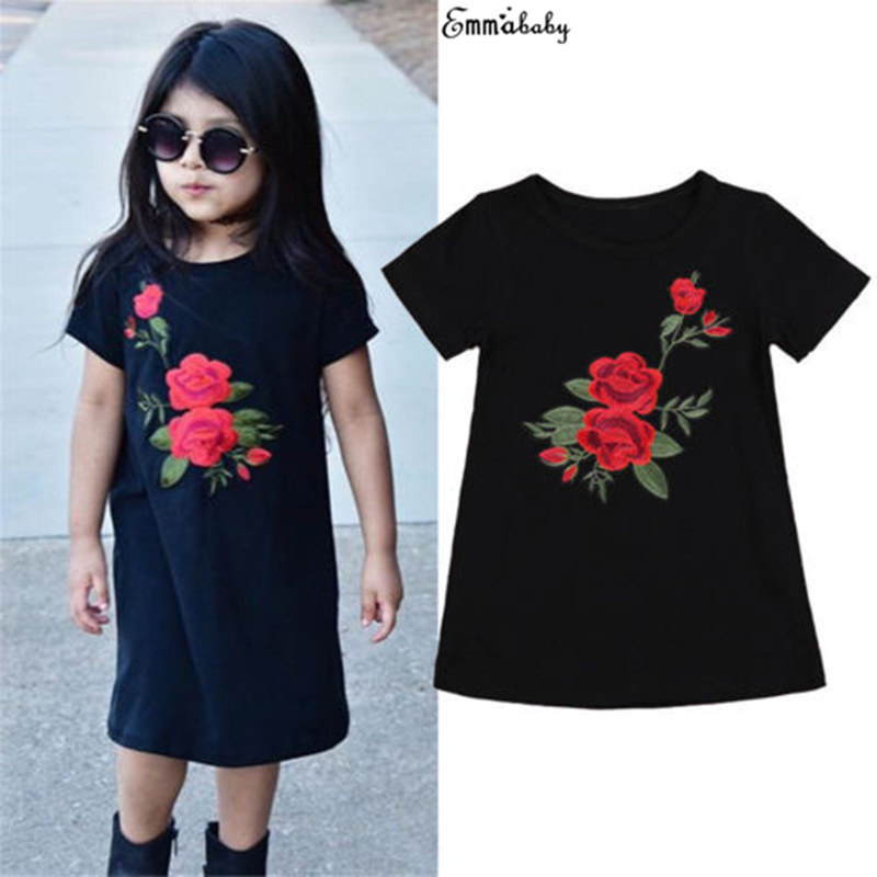 Toddler Newborn Cute Kid Baby Girls Short Sleeve Fille Joli 3D Roses Flower Princess Party Dress Outfits Clothes Dresses