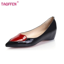 Women Flats Shoes Pointed Toe Casual Shoes Woman Sexy Bowknot Ladies Shoes Brand Patent Leather Flat Footwear Size 35-46 B202