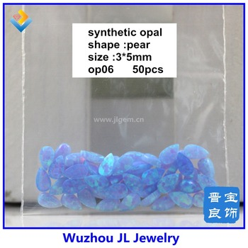 (100pcs/lot) 3*5mm Synthetic OP06 Opal Cabochon pear gems  stones for fashion necklace make in China