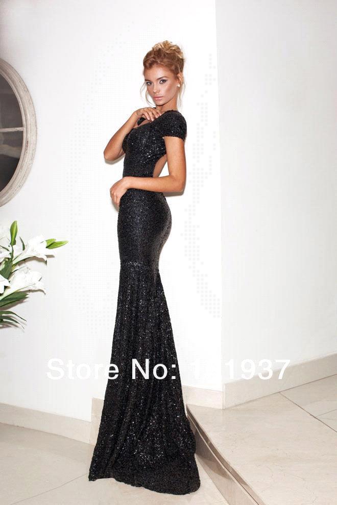 Aliexpress.com : Buy Short Sleeve Sequins Black Mermaid Prom ...