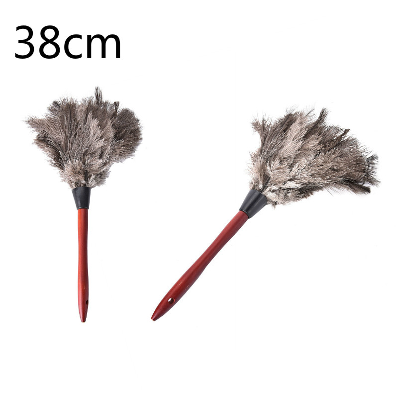 38cm Ostrich Natural Feather Duster Brush Wood Handle Anti-static Cleaning Tool Household Furniturer Car Dust Cleaner(China)