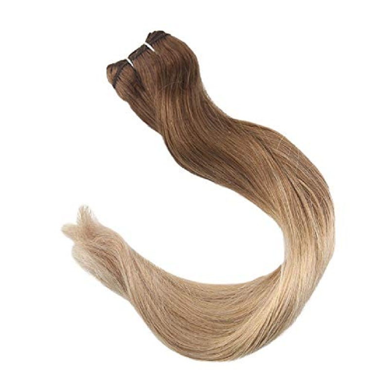 Full Shine Hair Weft 100% Remy Human Hair Extensions Balayage Color #10 Fading To 14 100g Double Weft Sew In Hair Bundles