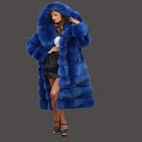 Kürk ceket yeni 2017 ithal imitasyon vizon tilki tilki ceket coat mavi çapraz şerit muhteşem bolluk yeni kürk ceket kadın