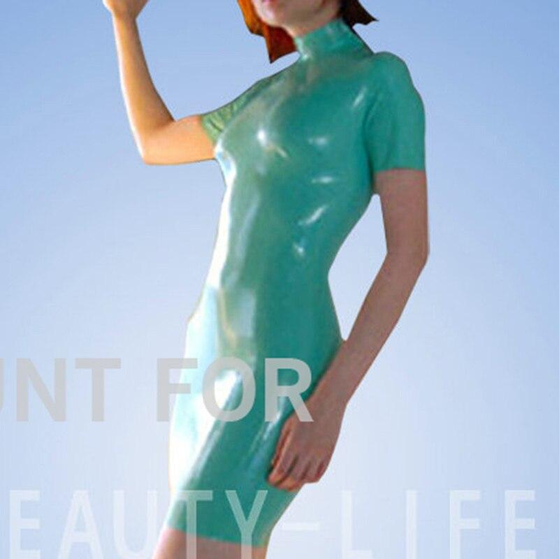 Latex belles robes pour les femmes fétichistes costumes sexy fermeture éclair naturel et fait main taille personnalisation