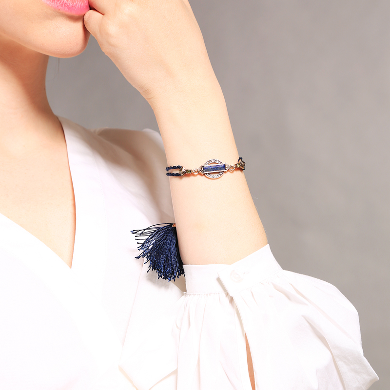 Fashion Bohemia Punk Vintage Geometry Blue Stone Adjustable Cotton Thread Tassel Bracelet For Women Jewelry Fashion Gift Bracelets & Bangles