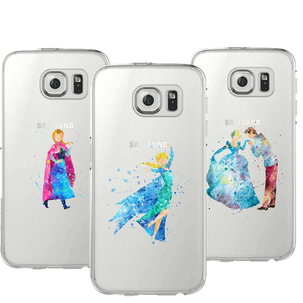 Watercolor Elsa Mermaid and her prince Mickey Mouse Soft TPU Phone Cases For Samsung Galaxy S5 S6 S7 edge S8 S8 plus Cover