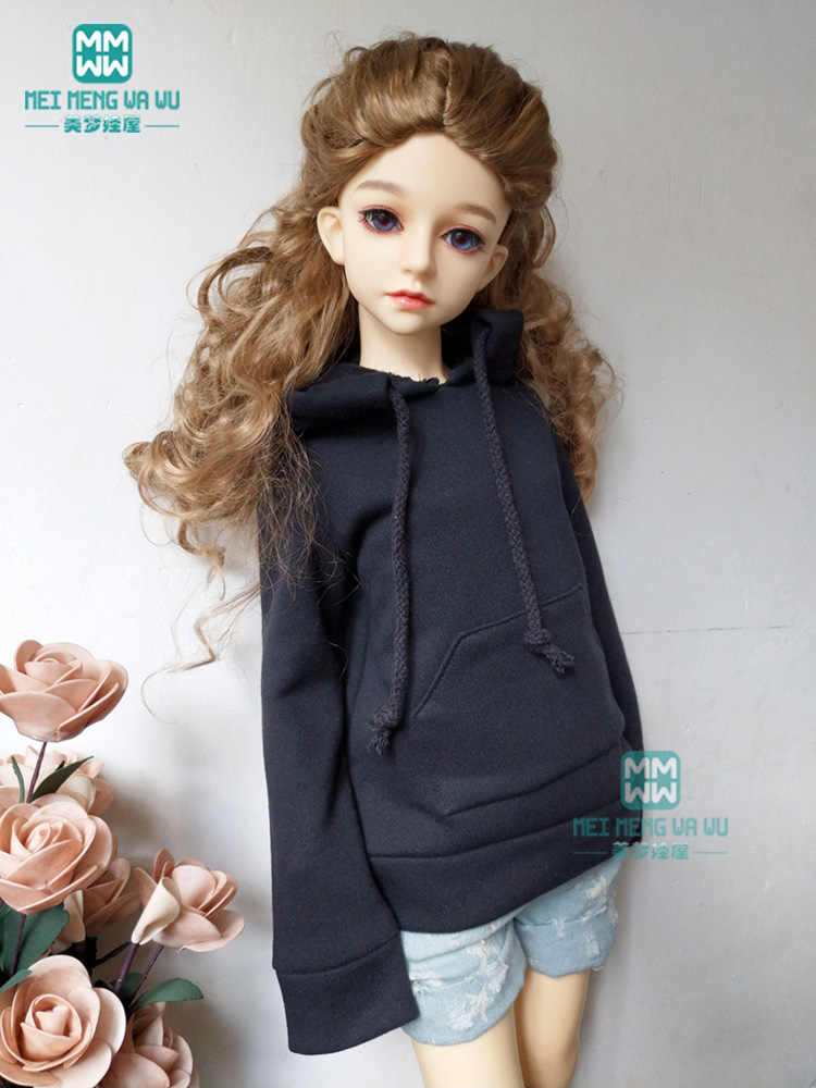 BJD pop kleding voor 1/3 BJD SD pop mode black hooded trui + denim shorts