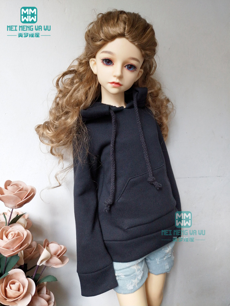 BJD Doll Clothes For 1/3 BJD SD Doll Fashion Black Hooded Sweater + Denim Shorts