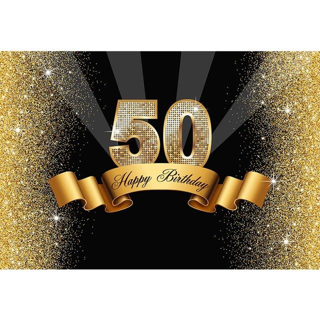 Happy 50th Birthday Backdrop Vinyl Printed Gold Ribbon