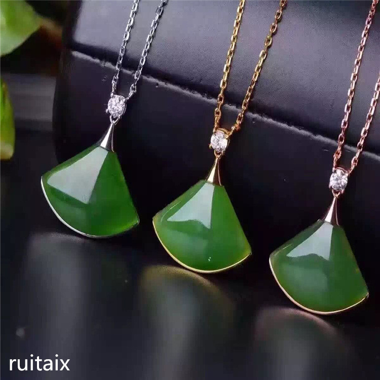 KJJEAXCMY boutique jewels S925 Pure silver inlay natural jade lady pendant + necklace fan jewelry plant leaves kjjeaxcmy boutique jewelry s925 pure silver white yellow green chalcedony pomegranate red jade silver antique simple