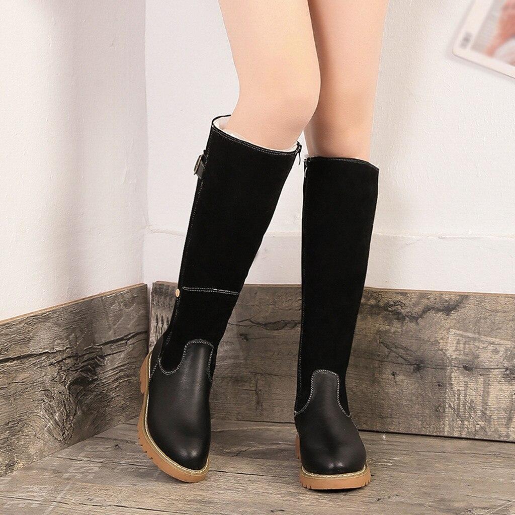 Vogue Botines Noir Genou Femmes En khaki Hiver Mujer Belle Peluche marron Casual Bottes Neige Chaud Cuir Haute Chaussures RSL34Ac5jq