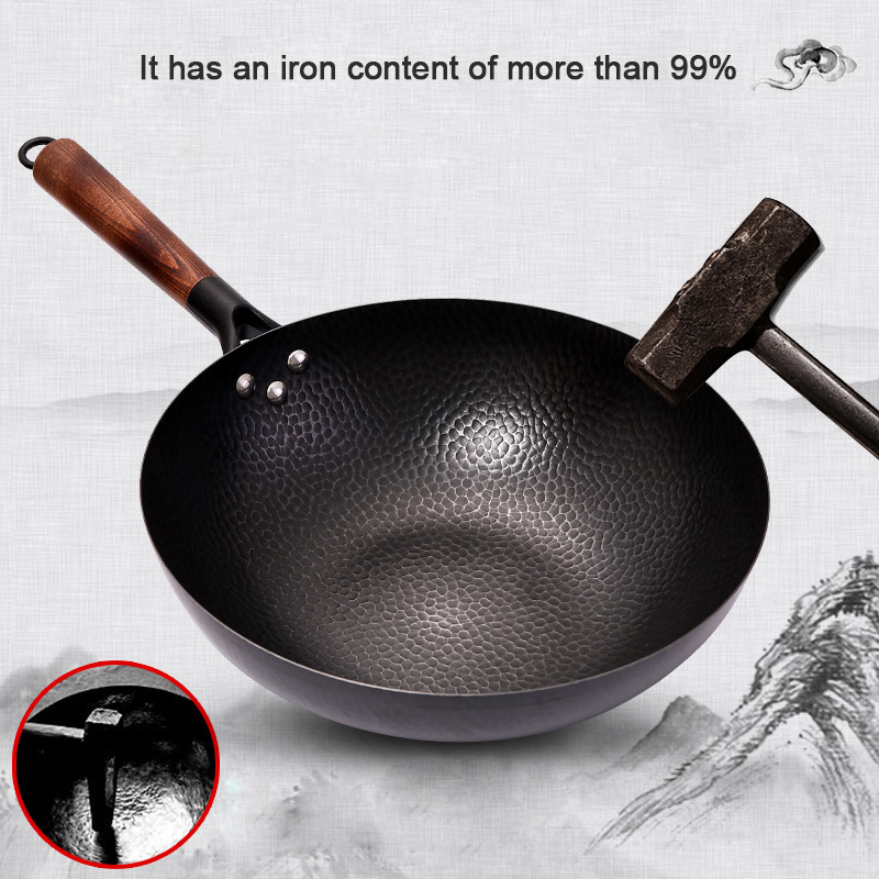 Konco Iron Wok Cast Iron Pan Non-coated Pot General Use For Gas And Induction Cooker 32cm Chinese Wok Cookware Pan Kitchen Tools