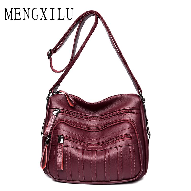 MENGXILU Brand New Luxury Handbags Women Bags Designer Triple zipper Crossbody Bags Women Soft PU Leather Ladies Hand Bags Sac mengxilu brand tote luxury handbags women bags designer handbags high quality pu leather bags women crossbody bag ladies new sac