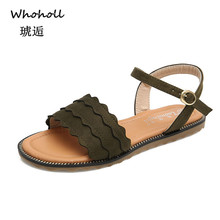 цена на Whoholl Summer Women Sandals Sweet Flats Comfortable Beach Sandals Flip Flops Casual Summer Shoes Fashion Footwear Plus Size 43